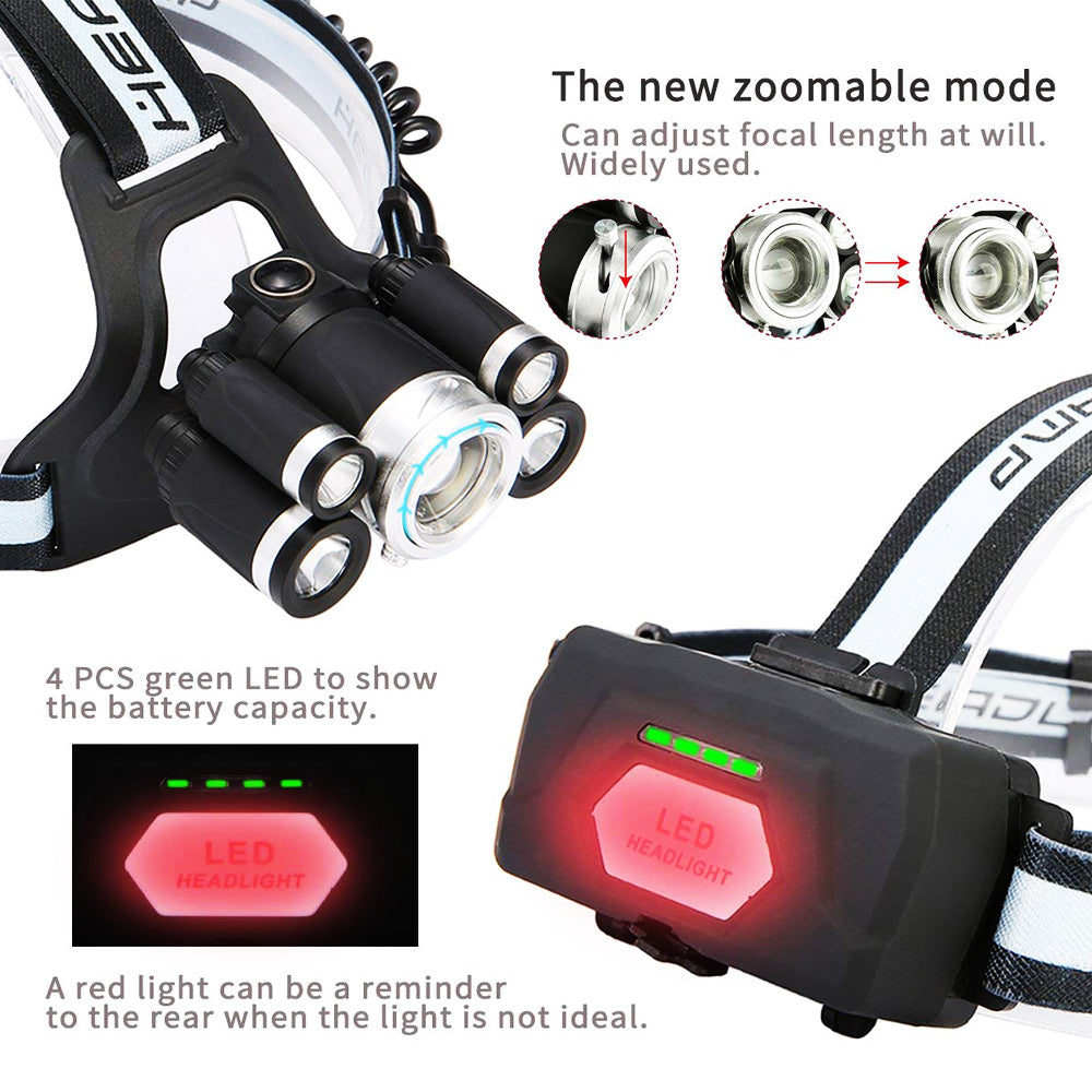 LED Zoomable Headlamp Outdoor Emergency Head Light Lamp with SOS Whistle