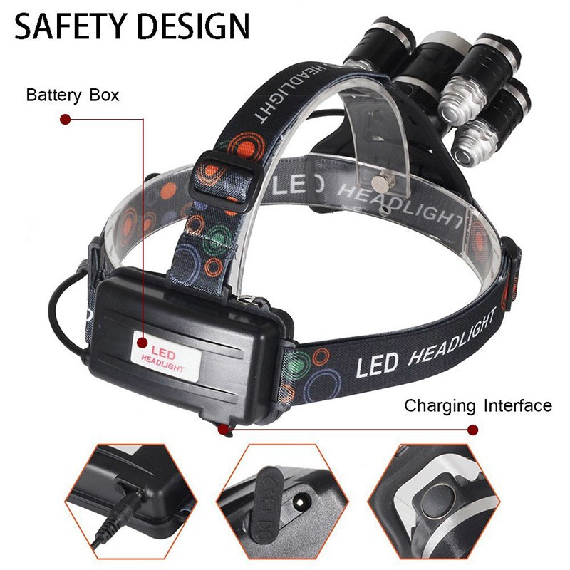 Headlamp 5 T6 LED Torch Headlight with 18650 Battery AC Car Charger