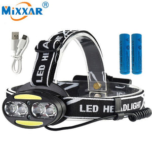 LED Headlamp 4*T6+2*COB+2*Red Rechargeable Waterproof Light