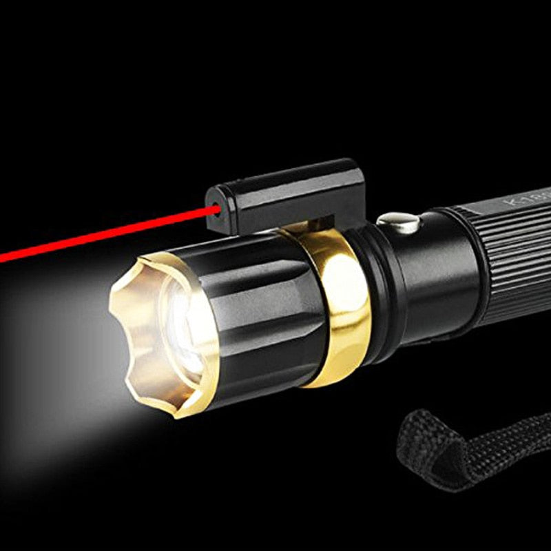 2 In 1 9000LM 3 Modes T6 LED Tactical Flashlight Zoomable