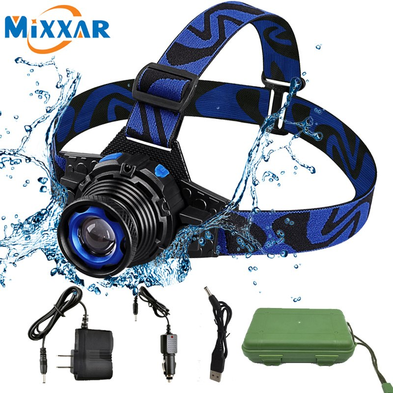 Waterproof LED Headlamp Rechargeable Rotary Zoom 3 Modes