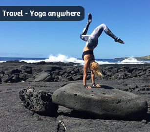 YogaPaws - designed for travel - fits anywhere, wear them anywhere.  Leave the mat at home.
