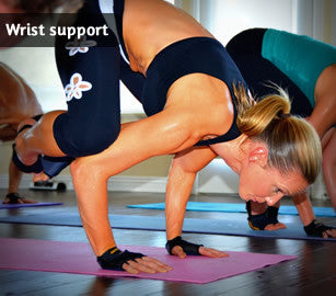 YogaPaws provides wrist support during those wrist bearing moves.