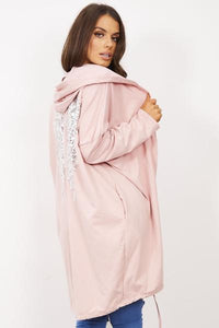 Angel Wing Sequin Hooded Jacket