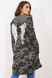Camo Sequin Angel Wings Hooded Jacket