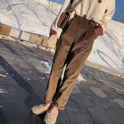 High Waist Corduroy Winter Trousers