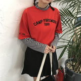 CAMP FIREWOOD Long Sleeved Striped Tee