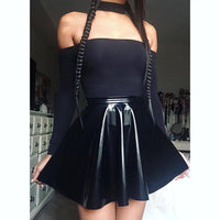 Gothic Black Faux Leather Skirt