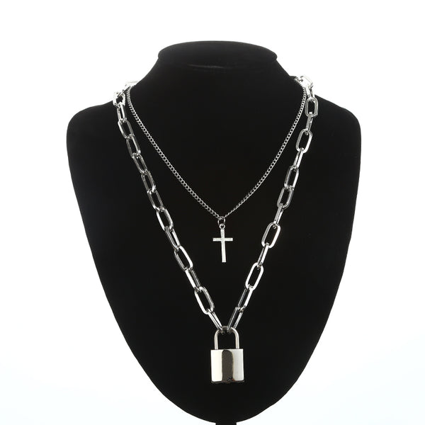 Multi-layer Padlock and Cross Pendant Necklace