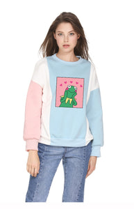 Cartoon Frog Print Sweatshirt