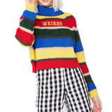 "Rainbow Striped Turtleneck ""WEIRDO"" Sweater"