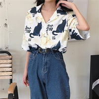 Chinese Letter Cat Printed Casual Shirt