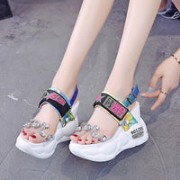 Transparent Jewel Wedge Sandals