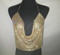 Rhinestone Backless Y2K Crop Top
