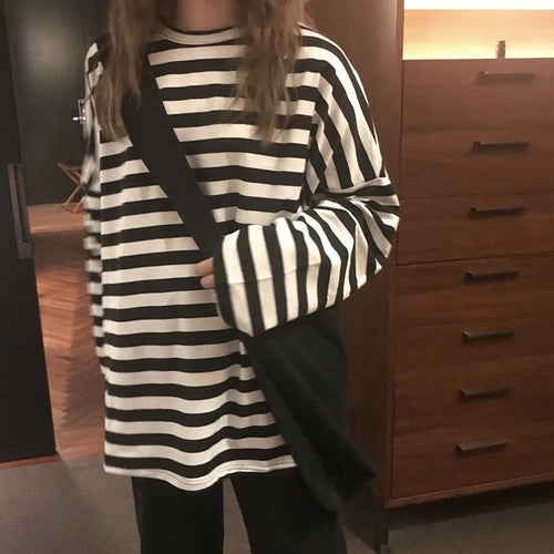 Striped Oversized Long Sleeved T-Shirt