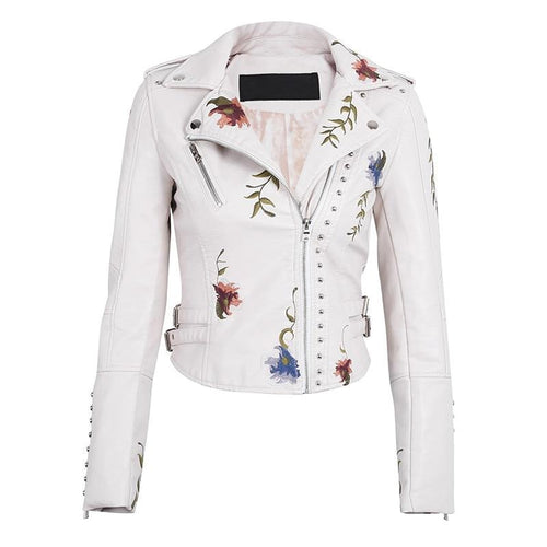 Faux Soft Leather Embroidered Biker Jacket