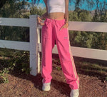 Y2K Aesthetic Pink Hip Hop Trousers