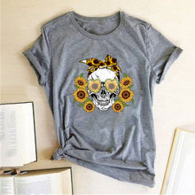 Load image into Gallery viewer, Vogue Skull Sunflowers Print T-shirt