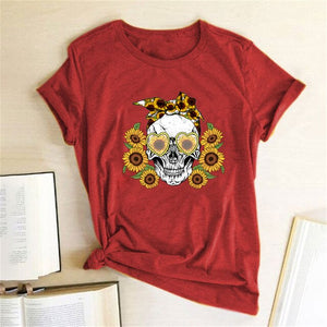 Vogue Skull Sunflowers Print T-shirt