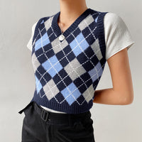 Argyle Knitted Preppy Tank Top