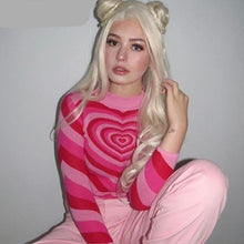 Load image into Gallery viewer, Y2K Aesthetic Heart Hot Pink Striped Sweater