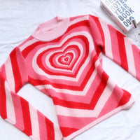 Y2K Aesthetic Heart Hot Pink Striped Sweater