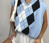 Y2K Preppy Argyle Knitted Tank Top