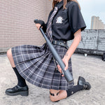 Empire Waist Korean Style Pleated Plaid Skirt