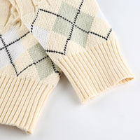 Autumn Argyle Knitted Preppy Style Cardigan