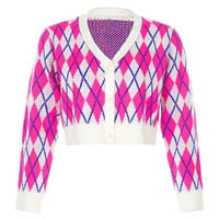 Argyle Y2K Aesthetic Knitted Cardigan