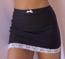 Load image into Gallery viewer, Y2K Aesthetic Bow Lace Trim Black Skirt