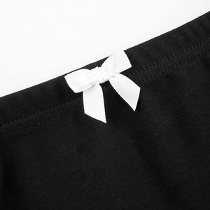 Y2K Aesthetic Bow Lace Trim Black Skirt