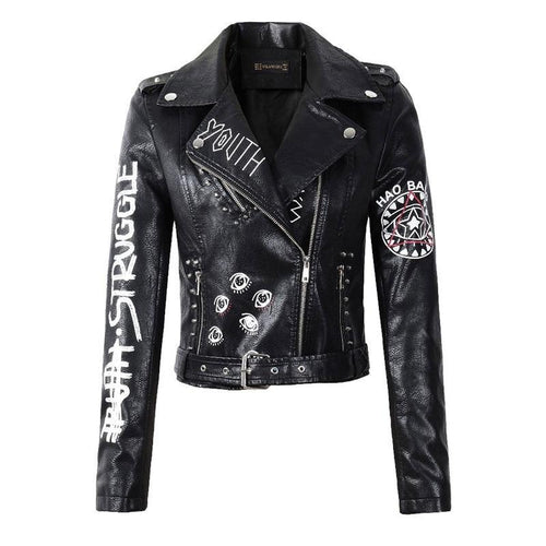 Faux Leather Graphic Printed Black Biker Jacket