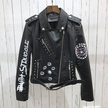 Load image into Gallery viewer, Faux Leather Graphic Printed Black Biker Jacket