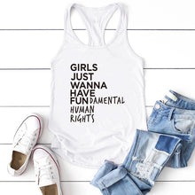 "Load image into Gallery viewer, ""GIRLS JUST WANNA HAVE FUNdamental Human Rights"" T-shirt"