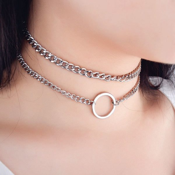 Double Layer Metal Chain Choker Necklace