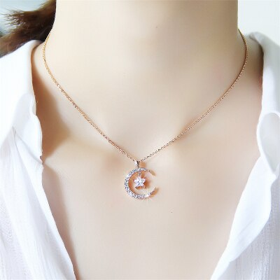 Moon Star Zircon Pendant Necklace