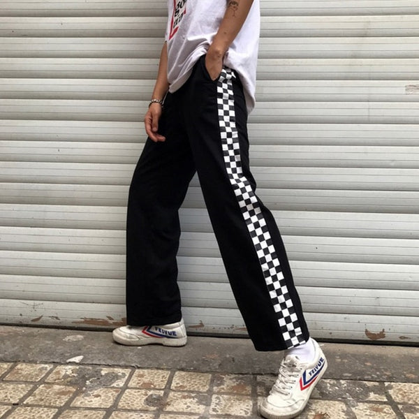 Unisex Long Checkerboard Trousers