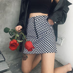 Black Checkerboard Zipper Skirt