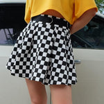 Flared Checkerboard Mini Skirt