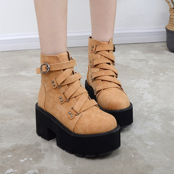 Platform Buckle Ankle Boots