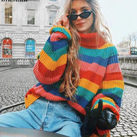 Rainbow Roll-neck Knitted Jumper