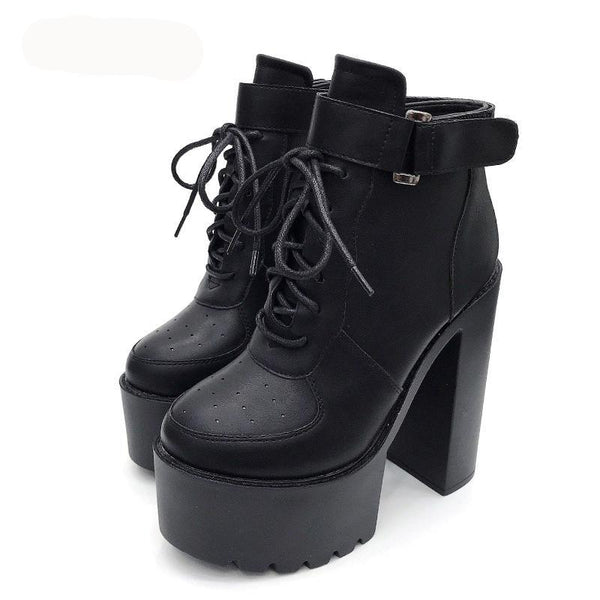 Lace-Up Chunky Platform Ankle Boots