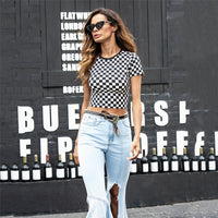 Checkerboard Short Sleeve Crop T Shirt