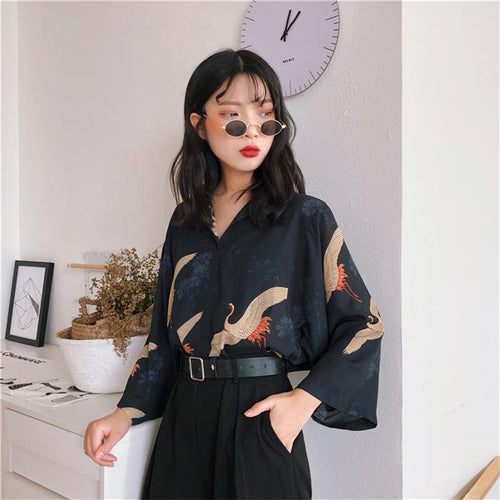 Kawaii Retro Crane Print Blouse