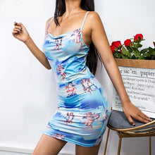 Load image into Gallery viewer, Cute Spaghetti Strap Angel Print Dress