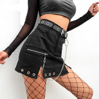Black Split A-line Mini Skirt