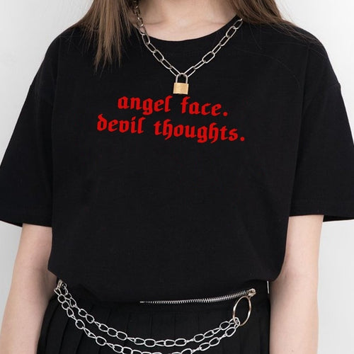 Angel Face Devil Thoughts Grunge T-Shirt