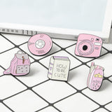 Cute Pink Enamel Pin Badges