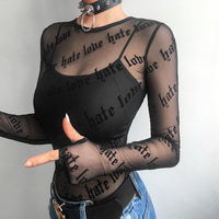 Gothic Letters Black Mesh Top